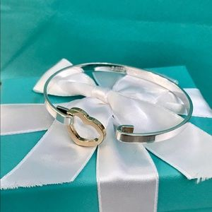 Tiffany & Co. Jewelry - T&C 2003 18K & SILVER HEART HOOK BANGLE BRACELET
